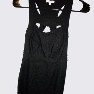 Bodycon mini dress. Cutout front & cross back